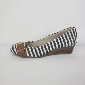 Dexflex Comfort Shoes Navy Striped Wedge Size 6